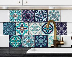 Tile Sticker Kitchen, bath, floor, wall Waterproof & Removable Peel n Stick: - Wohnwagen Tile Stickers Kitchen, Kitchen Backsplash, Backsplash Ideas, Kitchen And Bath, Kitchen Decor, Small American Kitchens, Moroccan Kitchen, Wall Waterproofing, Portuguese Tiles