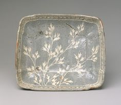 Dish with design of grasses, Momoyama period (1573–1615), late 16th–early 17th century Japan Stoneware with decoration incised through iron-rich clay slip