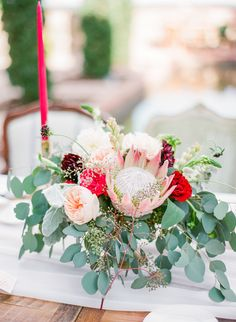 Wedding Table Eucalyptus Centerpiece Ideas 44 Ideas For 2019 Protea Wedding, Wedding Table Flowers, Wedding Table Centerpieces, Wedding Table Settings, Floral Wedding, Wedding Bouquets, Wedding Decorations, Table Wedding, Table Decorations
