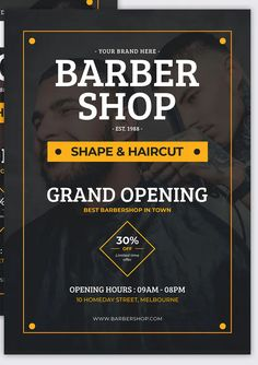 Barbershop - Grand Opening Flyer Template YR by Rometheme on Envato Elements Event Poster Template, Flyer Template, Flyer Design Templates, Barber Shop Interior, Barber Shop Decor, Poster Ads, Retro Posters, Advertising Poster, Movie Posters
