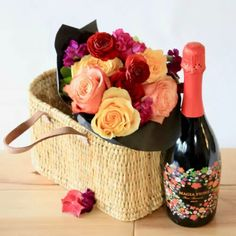 What a great way to celebrate! A basket of fresh blooms presented in a market basket with a bottle of red bubbly! Victoria Bc Canada, Market Baskets, Bubbles, Presents, Bloom, Range, Fresh, Bottle, Flowers