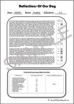 child daily diary Reflections of Our Day Early Years Framework, Emergent Curriculum, Learning Stories, Family Day Care, Infant Classroom, Literacy Programs, Curriculum Planning, Preschool Printables, Project Based Learning