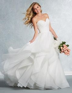 Alfred Angelo Bridal Gown Style 2609 Ivory Size 16 Tulle Wedding 8fd67d1caf16