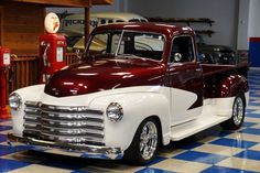 1948 Chevrolet 5-Window Long Bed Pickup - Burgundy And Polar White