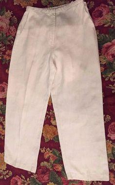 Eileen Fisher Petite Women 100% Irish Linen Beige Wide Leg Trouser Pants Size PP #EileenFisher #CasualPants