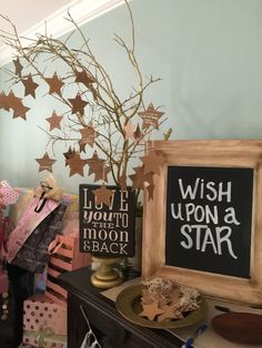 Make a Wish Upon a Star Tree for Baby Shower. Wedding Shower. Love you to the moon and back and all the stars theme.