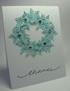 Christmas Thank you (Snowflake Wreath) stamping up north: Thank. you cards. Homemade Christmas Cards, Christmas Cards To Make, Xmas Cards, Homemade Cards, Handmade Christmas, Holiday Cards, Christmas Crafts, Merry Christmas, Gold Christmas