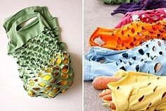 Upcycle t-shirts you no longer use into reusable produce bags T Shirt Recycle, T Shirt Diy, Upcycle, Tee Shirts, Tees, Reuse Recycle, Sewing Clothes, Diy Clothes, Outfits