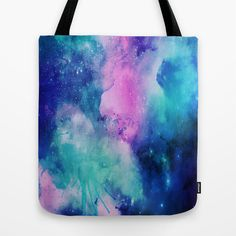 Tote Bag/ Watercolor Space Universe/ Pink Blue Purple Teal/ Three Sizes/ Bag/ Funny Bag/ Fun Gift/ Book Lover/ Pattern