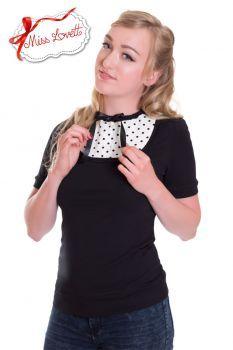 MISS LOVETT - Handmade Rockabilly Clothing - PAULA_02 Schleifen-Shirt POLKADOTS - SCHWARZ
