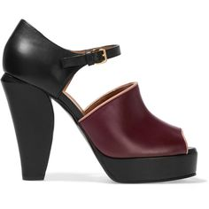 Marni - Leather Mary Jane Sandals (19.550 RUB) ❤ liked on Polyvore featuring shoes, sandals, heels, burgundy, peep toe sandals, leather strap sandals, strappy platform sandals, leather sandals and platform mary janes