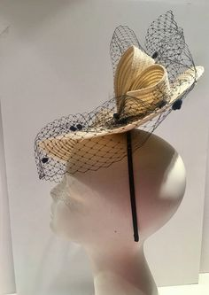 Ivory Fascinator Birdcage veil Fascinator l Off white