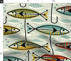 Set of 2 Retro  Cloth Napkins by Spoonflower Mid-century Mod Dinner Napkins - Atomic Abstract With Fish by hot4tees/_bgyahoo/_com