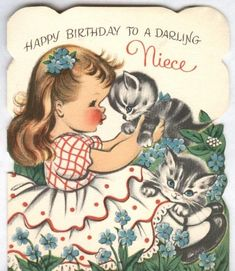 vintage birthday card-girl with cats