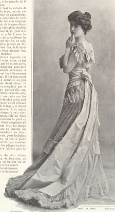 1901 Septembre - Les Modes Paris - Dinner dress by Rouff 1900s Fashion, Edwardian Fashion, Vintage Fashion, Women's Fashion, Fashion Rings, Style Édouardien, Looks Style, Historical Costume, Historical Clothing