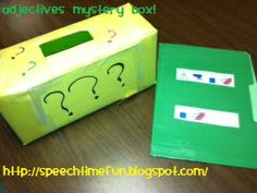 Adjectives Mystery Box -  Pinned by @PediaStaff – Please Visit http://ht.ly/63sNt for all our pediatric therapy pins