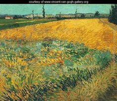 Wheat Field With The Alpilles Foothills In The Background - Vincent Van Gogh - www.vincent-van-gogh-gallery.org