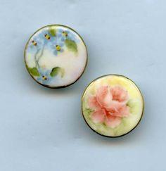 SOLD: Porcelain floral button studs vintage hand painted