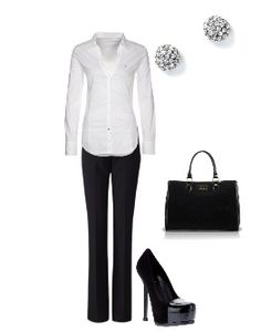 Black and White Work Outfit. simple, classy & professional.. cuff the sleeves to 3/4 length though.