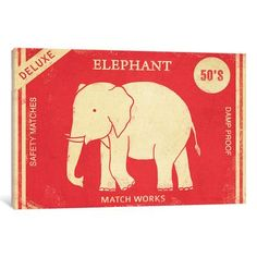 """Varick Gallery Elephant Safety Matches Vintage Advertisement on Wrapped Canvas Size: 12"""" H x 18"""" W x 1.5"""" D"""