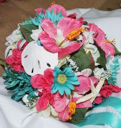 Tropical Wedding Bouquet  Teal  Pink  Coral by ForeverDenimandLace, $98.00