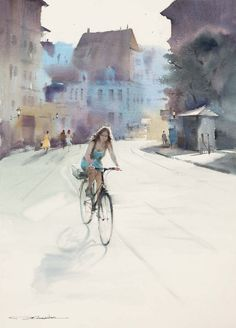 Watercolor by Xī sài lián/Chinese Watercolor City, Watercolor Illustration, Watercolor Paintings, Watercolours, Bicycle Art, Painting People, City Landscape, Cycling Art, Funny Art