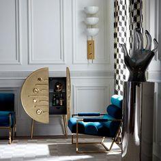 Reform Circle Bar | Jonathan Adler Circle Bar, Oak Cabinets, Pottery Studio, Panel Doors, Cabinet Doors, Adjustable Shelving, Solid Oak, Home Furniture, Upholstery