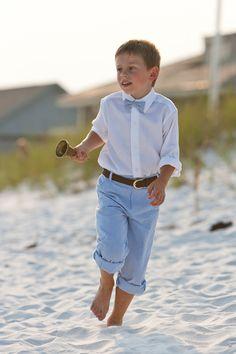 Ring Bearer Boy's Bowtie Navy Seersucker Stripes for Kids. $19.99, via Etsy.