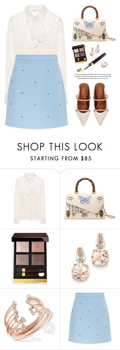 """..."" by yexyka ❤ liked on Polyvore featuring Tory Burch, Gucci, BillyTheTree, Kendra Scott, Maje, Malone Souliers, skirt, Blue, pastel and mytheresa"