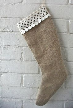 Rustic Christmas Holiday Stocking in Natural by HomeDecorLab, $24.00