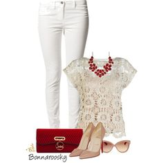 """red accents"" by bonnaroosky on Polyvore"