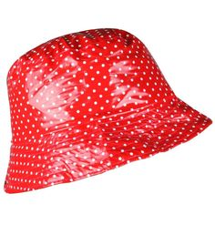 bdd8c07e Women's Rain Hat Waterproof 100% Water Resistant Wide Brim Packable Dots  Red HQ #YJDS