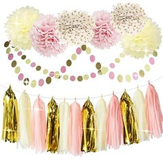 Bridal Shower Decorations Tissue Pom Pom Pink Cream Glitter Gold Tissue Paper Pom Pom Paper Tassel Garland Polka Dot Tissue Poms for Girl Baby Shower Decorations Pink Gold Party Decor First Birthday Gold Pom Poms, Tissue Pom Poms, Gold Tissue Paper, Tissue Paper Flowers, Gold Paper, First Birthday Decorations, Girl Baby Shower Decorations, Birthday Ideas, Circle Garland