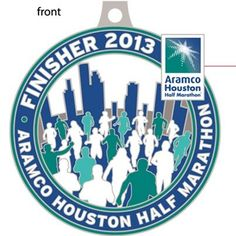 Houston half marathon 2013 finisher medal!! Facebook page put a sneak peak;)