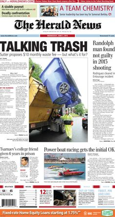 The front page of The Herald News for Wednesday, June 3, 2015. #fallriver #trash