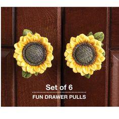 Sunflower Drawer Pulls - Set of 6