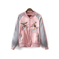 Embroidered Glossy Jacket ($99) ❤ liked on Polyvore featuring outerwear, jackets, pink jacket, embroidered jacket, shiny jacket, embroidery jackets and wet look jacket