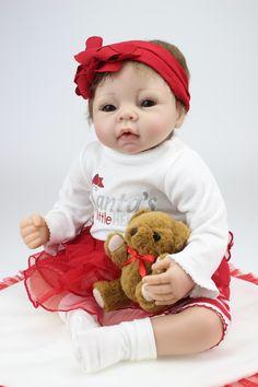 Npkdoll Lovely Lifelike Realistic Soft Vinyl Silicone Reborn Baby Girl Doll  with a Mini Bear 22 815e7d7b6d12