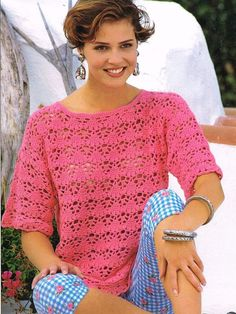 crochet summer top for ladies vintage pattern by EnglishCrochet