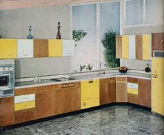 yellow 50s kitchen -