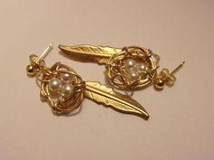 Bird Nest Jewelry, Bird Nest Earrings, Feather Jewelry Gold Wire Bird Nest Earrings, Pearl Bird Nest Earrings, Wire wrapped Jewelry by VintagePlusCrafts on Etsy