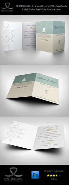 Wedding Invitation Card Template Vol.17 - #Weddings #Cards & #Invites Download here: https://graphicriver.net/item/wedding-invitation-card-template-vol17/19487333?ref=alena994