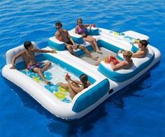 Floating Party Island - 6 people can party on the lake with this inflatable raft.
