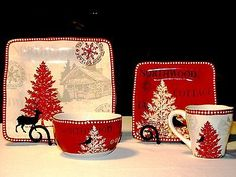 16Pc ~ 222 Fifth Northwood Cottage Holiday Christmas Dinnerware Set Service/4