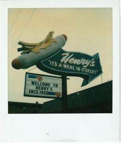 Henry's Hot Dogs Sign, Rt. 66 Vintage Polaroid Photo, Cicero Il.