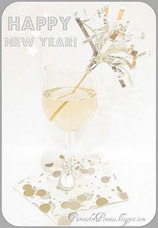 Cheap New Years Eve party ideas. Foil firecracker stirrer & bottlecap wine charms