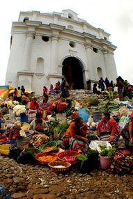 Market Day - Chichicastenango Quiche - Guatemala    Catholic Church in Guatemala Chichicastenango market day.