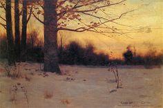 Charles Warren Eaton, Winter Twilight, 10 x 15 oil on canvas