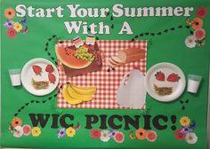 WIC Summer Picnic Bulletin Board Picnic Bulletin Boards, Summer Bulletin Boards, Preschool Bulletin Boards, Nutrition Education, Kids Nutrition, Fruit Of The Month, Nutrition Bulletin Boards, School Projects, School Ideas