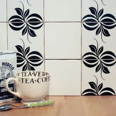 Mibo Tile Tattoos in Chessel Black on White - second option